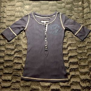 Abercrombie & Fitch Blue 3/4 sleeve Shirt Small